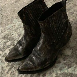 Silver Distressed Frye Boots